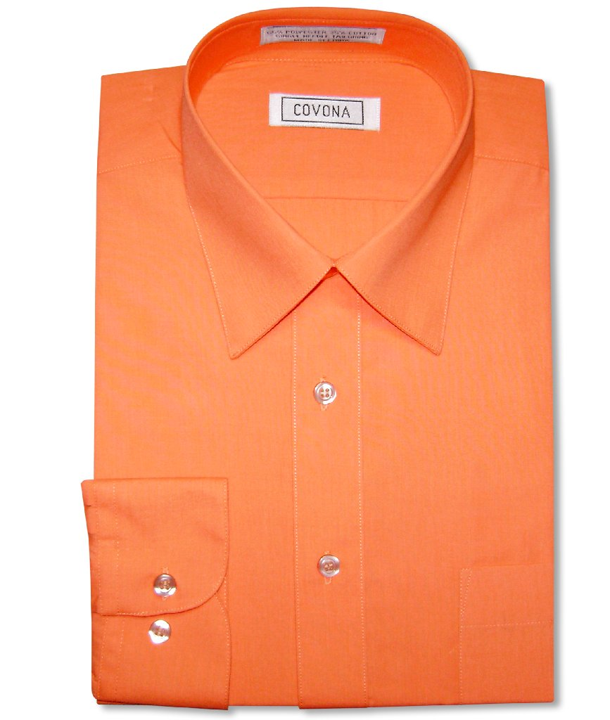 Men's Solid BURNT ORANGE Color Dress Shirt w/ Convertible Cuffs