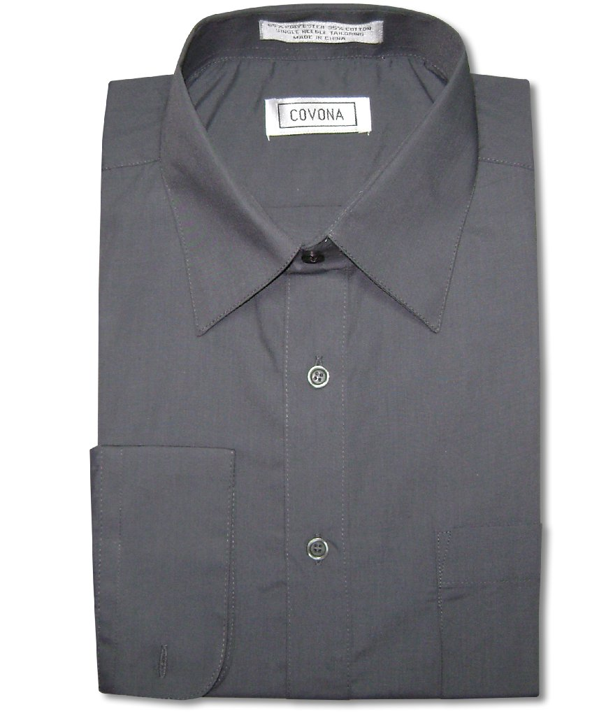 Men's Solid CHARCOAL GREY Color Dress Shirt w/ Convertible Cuffs