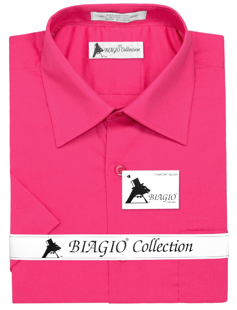 Biagio 100% Cotton Men's Short Sleeve Solid HOT PINK FUCHSIA Color Dress Shirt