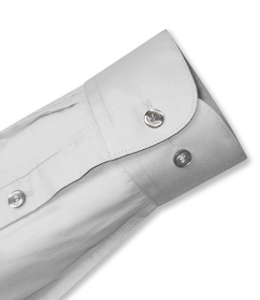 Biagio Men's 100% COTTON Solid SILVER GREY Color Dress Shirt w Convertible Cuffs