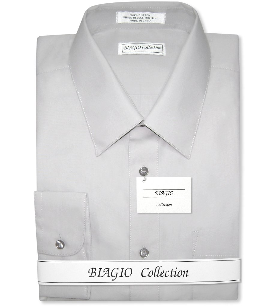 Biagio Mens All Cotton Silver Grey Dress Shirt with ...
