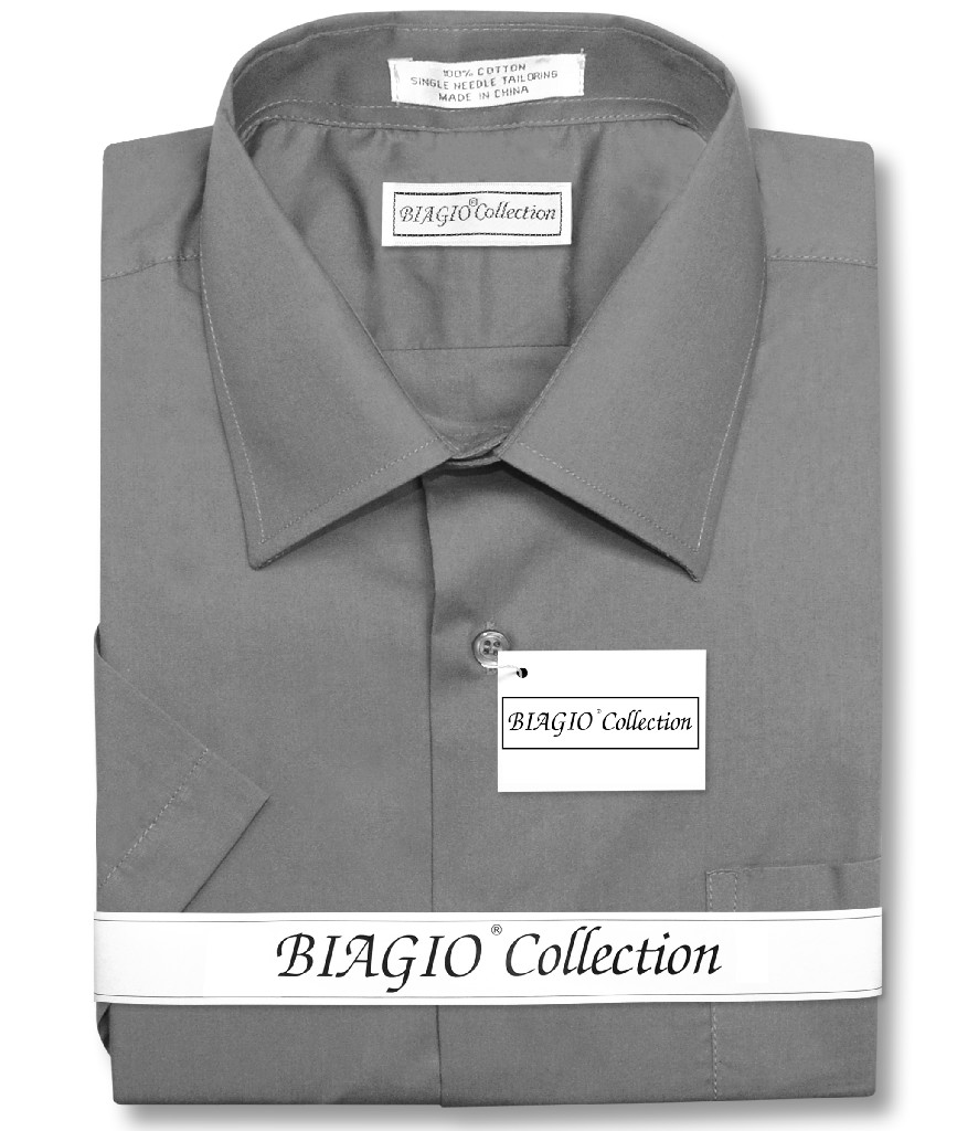 Biagio 100% Cotton Men's Short Sleeve Solid CHARCOAL GREY Color Dress Shirt