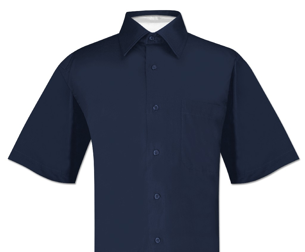 Biagio 100% Cotton Men's Short Sleeve Solid NAVY BLUE Color Dress Shirt