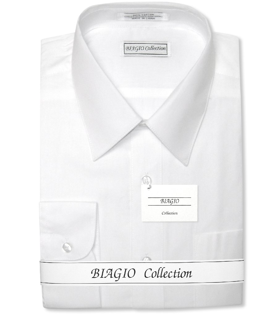 Convertible Cuffs Solid White Cotton Dress Shirt By Biagio