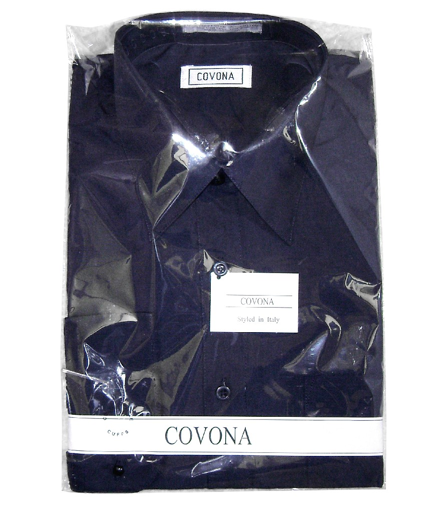 Men's Solid NAVY BLUE Color Dress Shirt w/ Convertible Cuffs