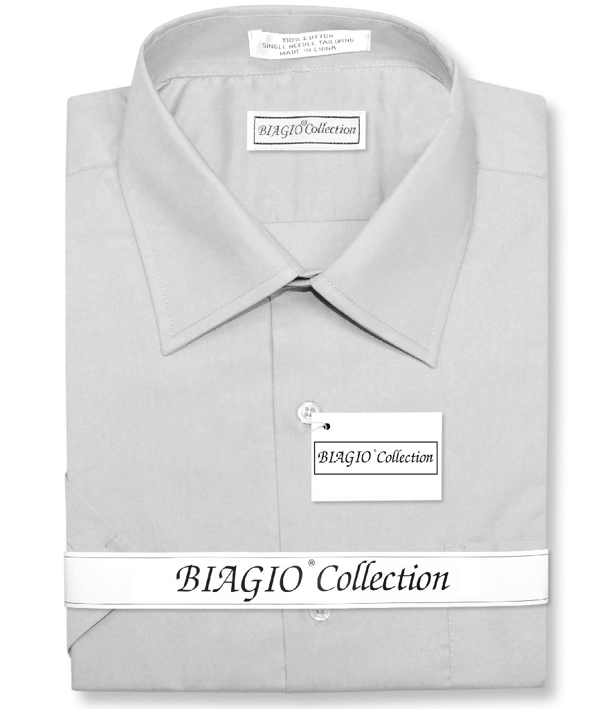 Biagio 100% Cotton Men's Short Sleeve Solid SILVER GREY Color Dress Shirt