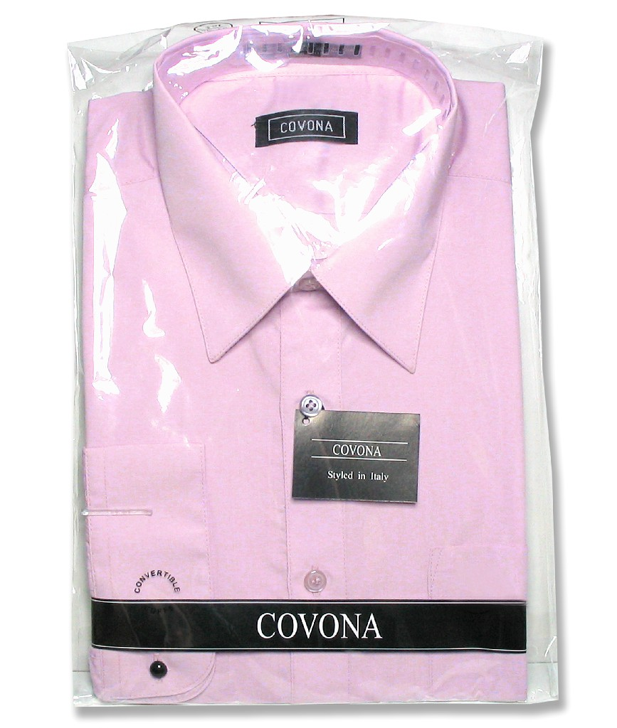 Men's Solid Lavender Purple Color Dress Shirt w/ Convertible Cuffs