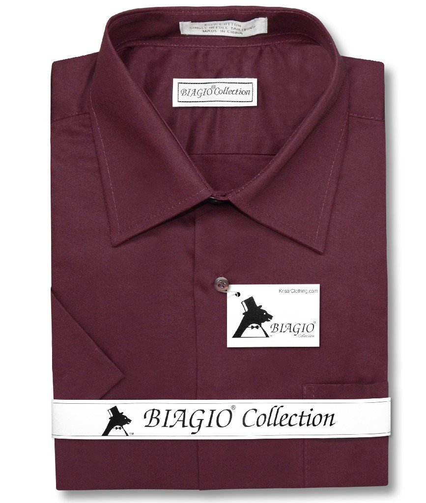 Biagio 100% Cotton Men's Short Sleeve Solid BURGUNDY Color Dress Shirt