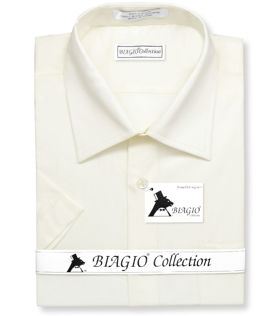 Biagio 100% Cotton Men's Short Sleeve Solid CREAM Color Dress Shirt
