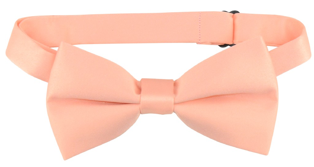 Vesuvio Napoli BOY'S BOWTIE Solid PEACH Color Youth Bow Tie