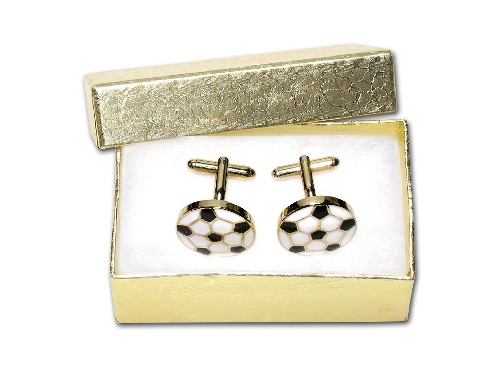 Gold-Tone Men's Cuff Links SOCCER BALL Shaped Cufflinks