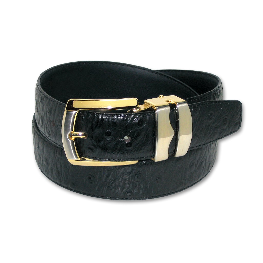 OSTRICH Pattern BLACK Color BONDED Leather Men's Belt Gold-Tone Buckle Regular