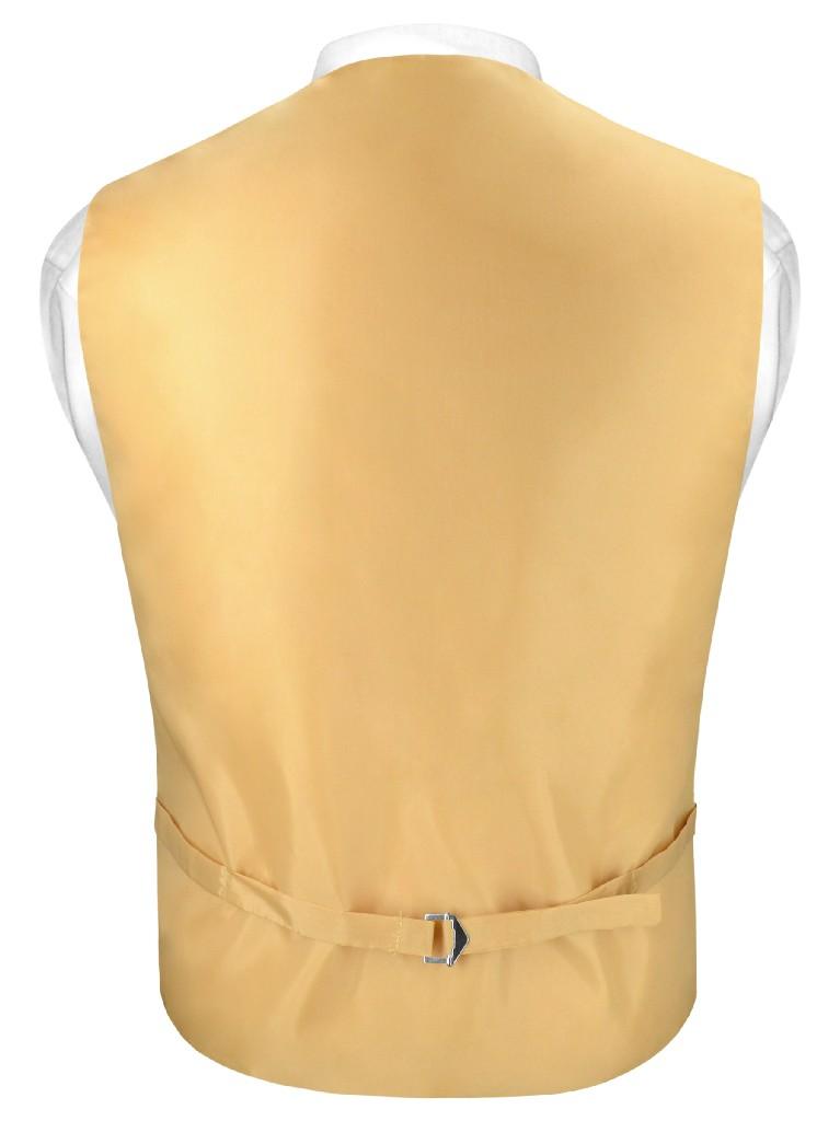 "Mens SLIM FIT Dress Vest Skinny NeckTie GOLD 2.5"" Neck Tie Hanky Set"