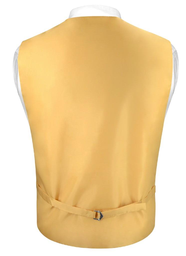 "Mens Paisley SLIM FIT Dress Vest NeckTie GOLD 2.5"" Neck Tie Hanky Set"
