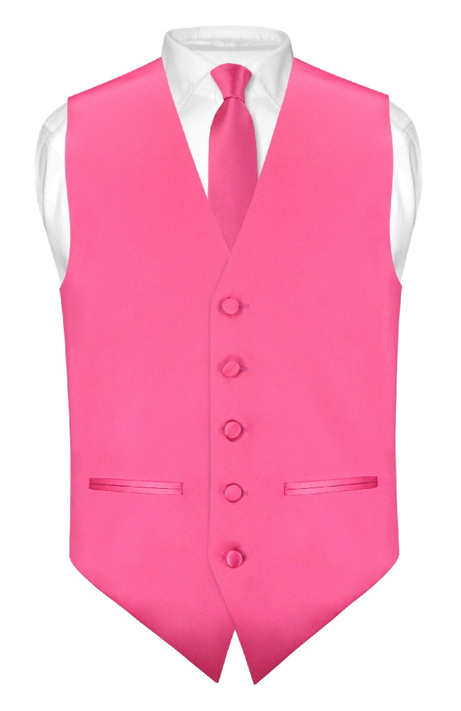"Mens SLIM FIT Dress Vest Skinny NeckTie HOT PINK FUCHSIA 2.5"" Neck Tie Hanky Set"
