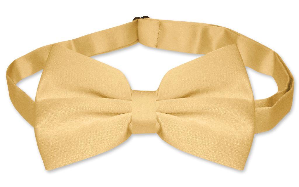 Mens SLIM FIT Dress Vest BowTie Solid GOLD Color Bow Tie Handkerchief Set