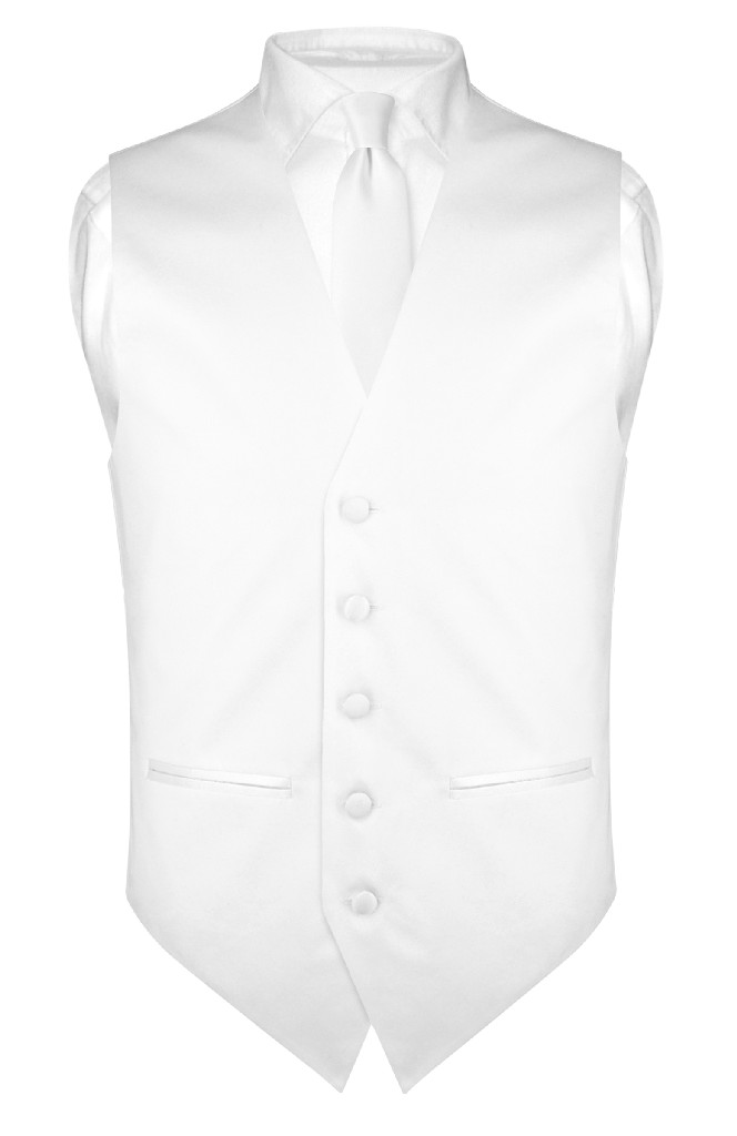 "Mens SLIM FIT Dress Vest Skinny NeckTie WHITE 2.5"" Neck Tie Hanky Set"
