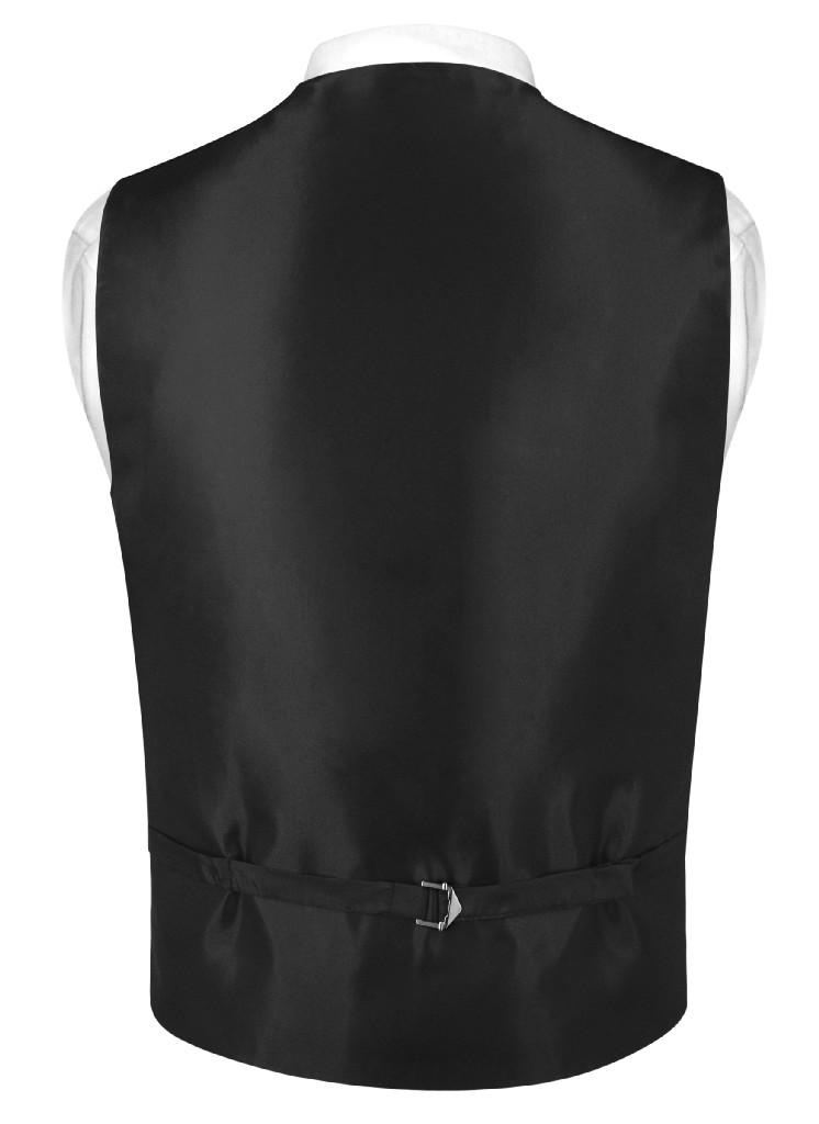"Mens SLIM FIT Dress Vest Skinny NeckTie BLACK 2.5"" Neck Tie Hanky Set"