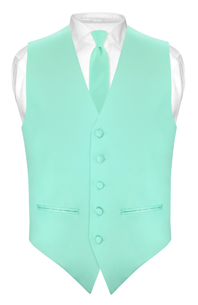 "Mens SLIM FIT Dress Vest Skinny NeckTie AQUA GREEN 2.5"" Neck Tie Hanky Set"