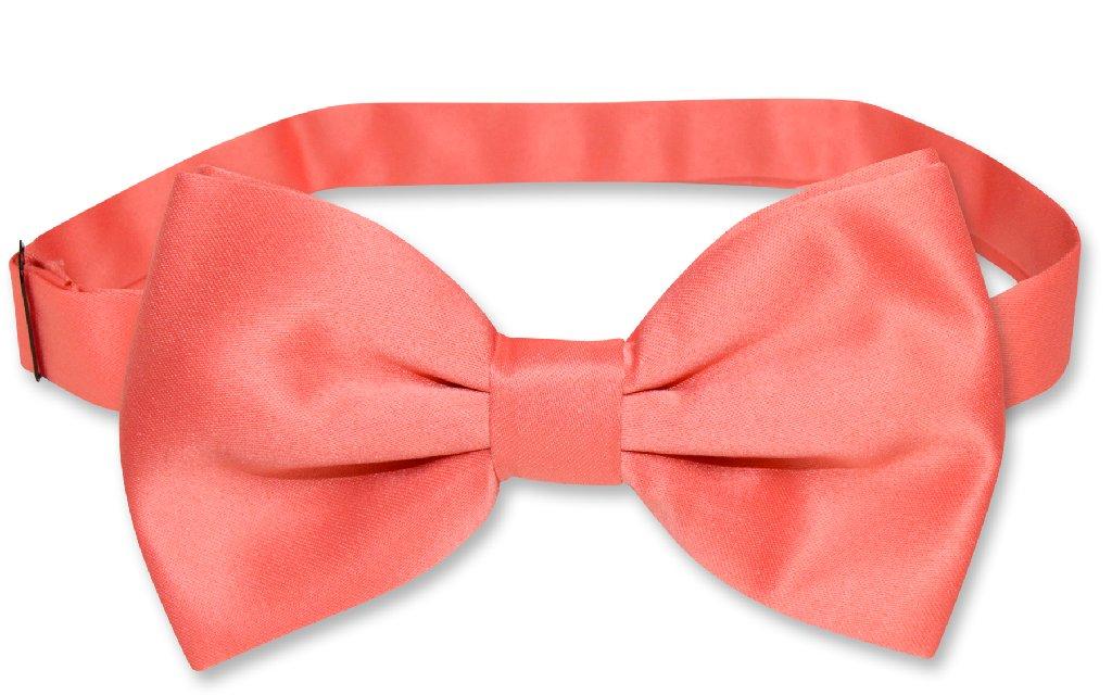 Mens SLIM FIT Dress Vest BowTie Solid CORAL PINK Bow Tie Handkerchief Set