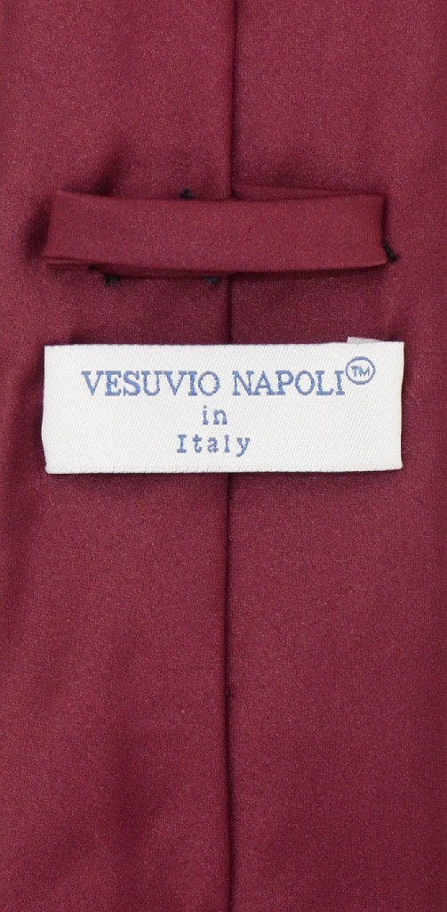 Vesuvio Napoli NeckTie Solid EXTRA LONG BURGUNDY Color Men's XL Neck Tie