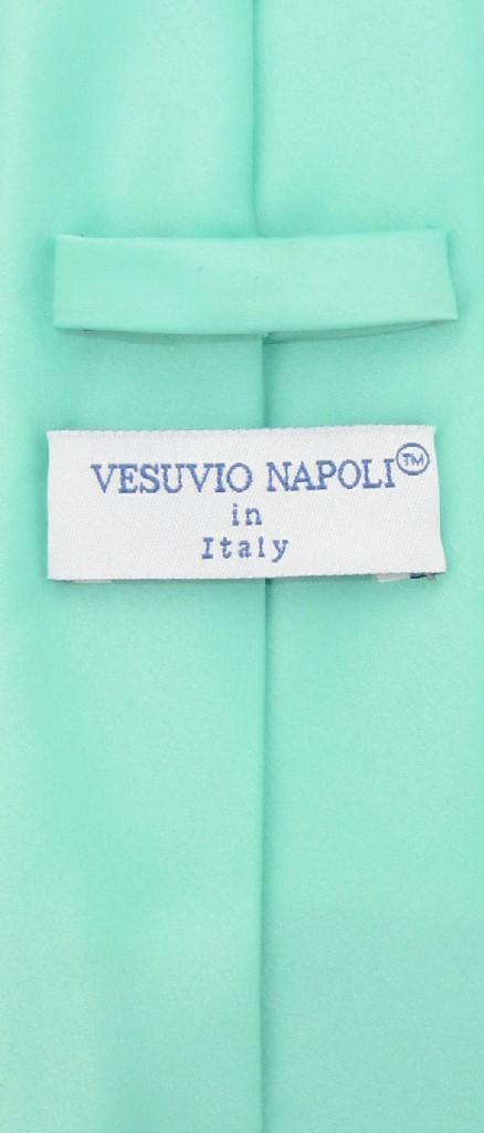 Vesuvio Napoli Solid EXTRA LONG AQUA GREEN NeckTie Handkerchief Neck Tie Set