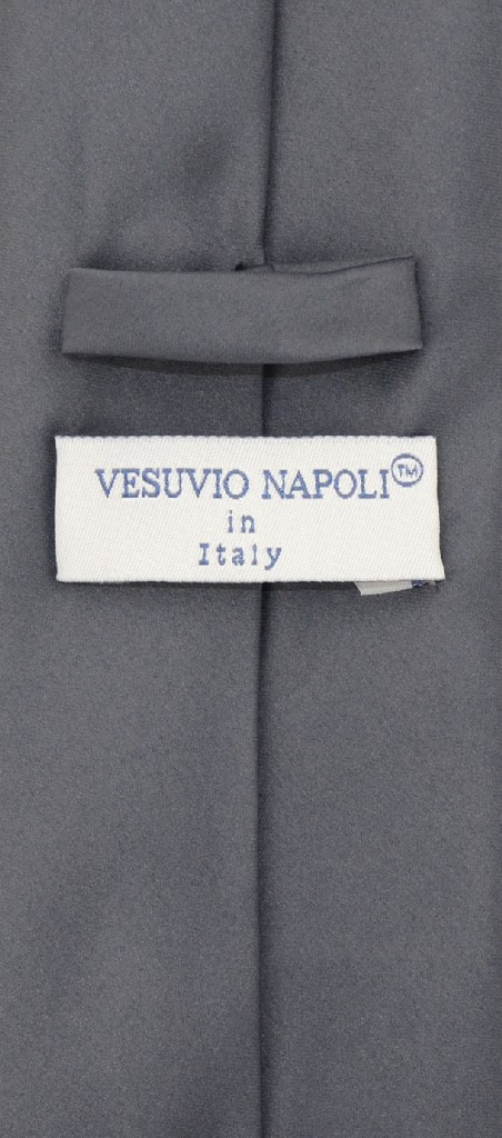 Vesuvio Napoli NeckTie EXTRA LONG CHARCOAL GREY Color Mens Dark Gray XL Neck Tie