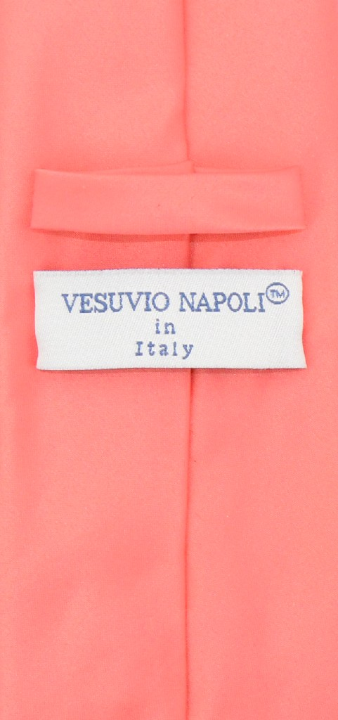 Vesuvio Napoli NeckTie Solid EXTRA LONG CORAL PINK Color Men's XL Neck Tie