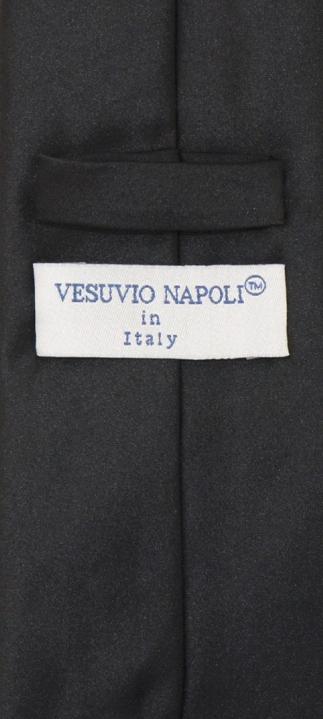 Vesuvio Napoli NeckTie Solid EXTRA LONG BLACK Color Men's XL Neck Tie