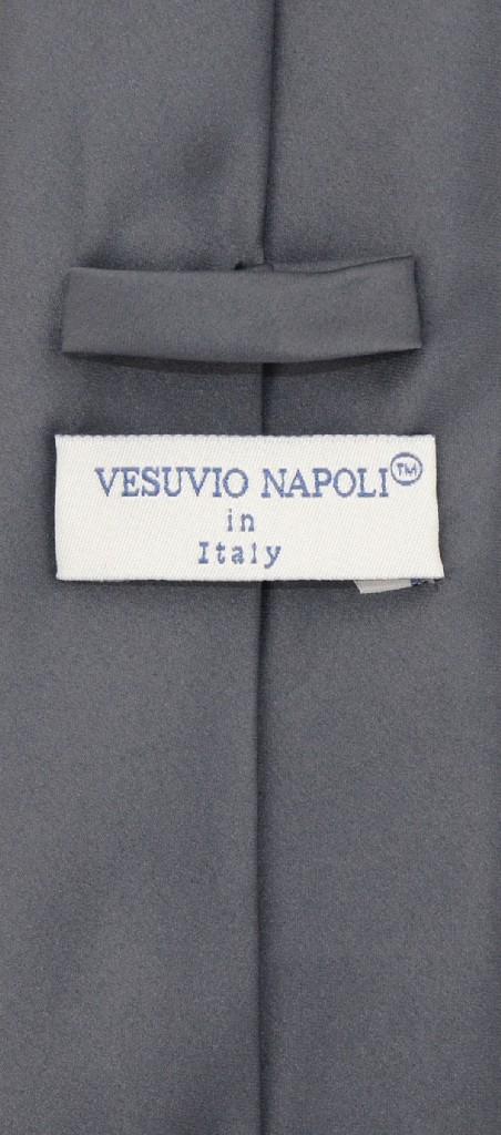 Vesuvio Napoli Solid EXTRA LONG CHARCOAL GREY NeckTie Handkerchief Neck Tie Set
