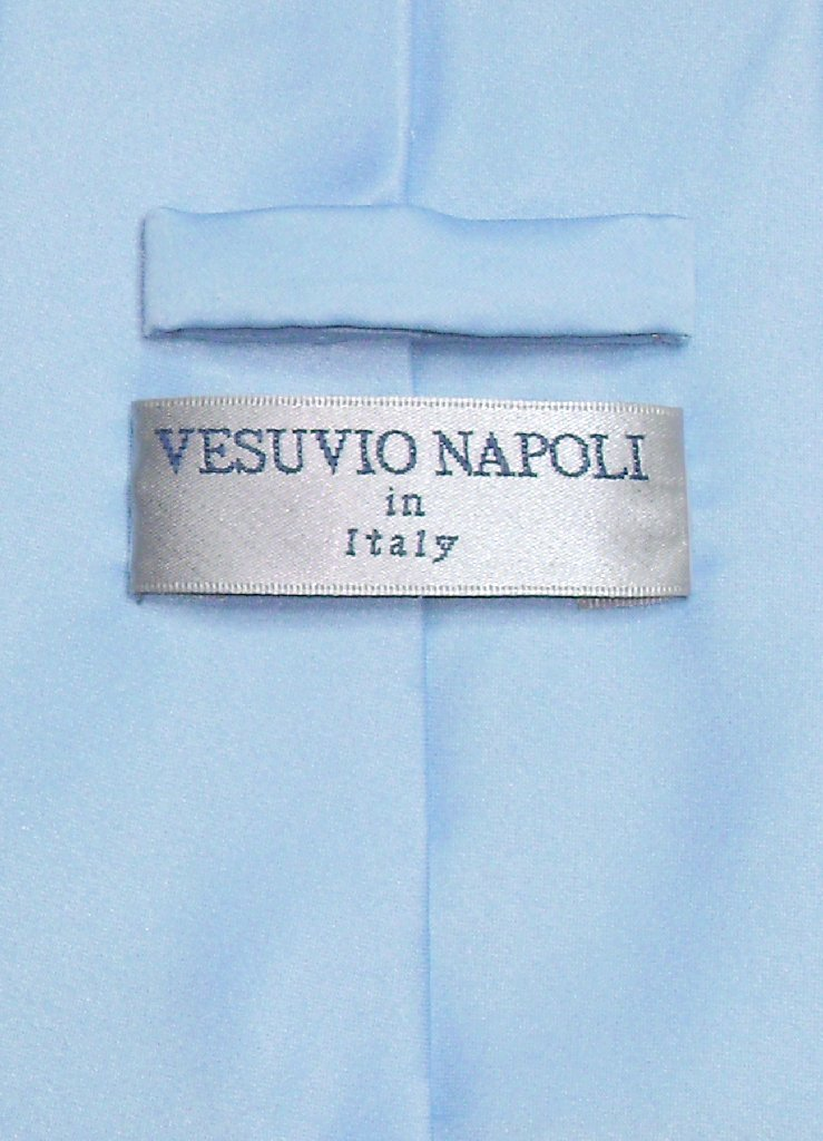 Vesuvio Napoli Solid BABY BLUE Color NeckTie & Handkerchief Men's Neck Tie Set