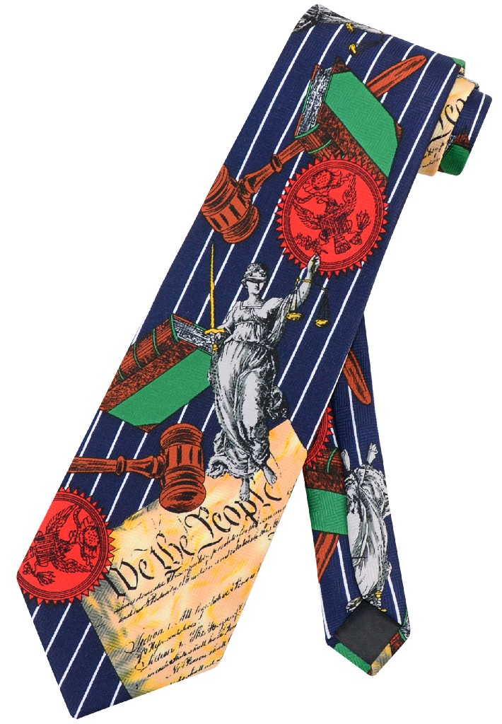 US Constitution NeckTie We The People Lady Justice Lawyer Mens Neck Tie