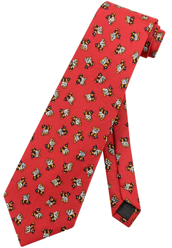 Bees Men's NeckTie Honey Bees with Red Background Mens Neck Tie