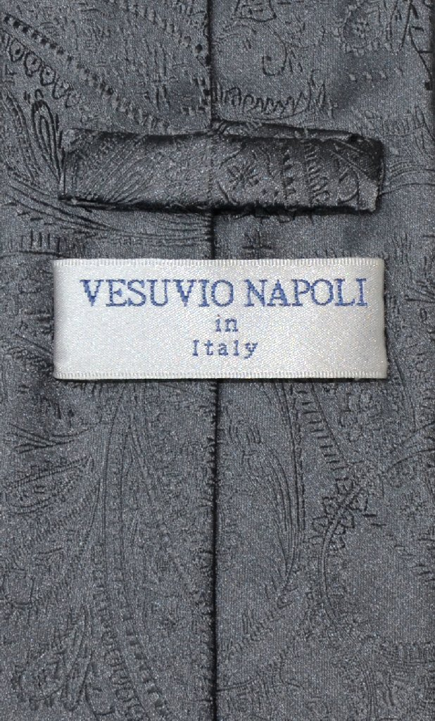 Vesuvio Napoli CHARCOAL GREY PAISLEY NeckTie Handkerchief Matching Neck Tie Set
