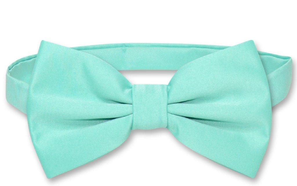 Men's Dress Vest & BowTie Solid AQUA GREEN Color Bow Tie Set for Suit or Tuxedo