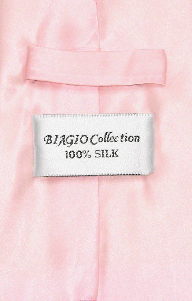 30397ec9e799 Biagio 100% Silk NeckTie Solid Light Pink Color Mens Neck Tie