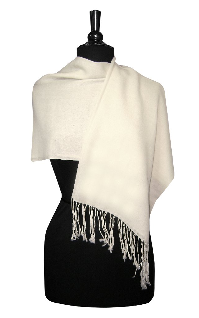 Biagio 100% Wool Pashmina Solid Scarf CREAM Color Women's Shawl Wrap Scarves