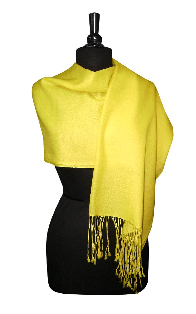 Biagio 100% Wool Pashmina Solid Scarf YELLOW Color Women's Shawl Wrap Scarves