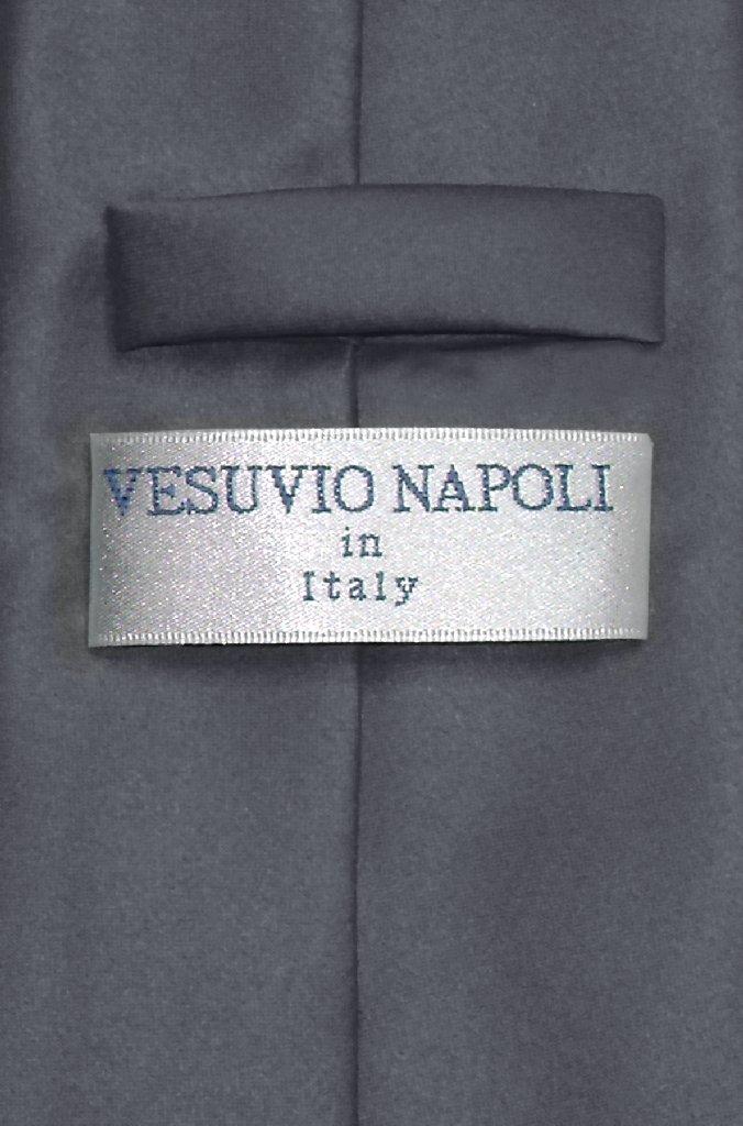 Vesuvio Napoli Solid CHARCOAL GREY Color NeckTie Handkerchief Men's Neck Tie Set