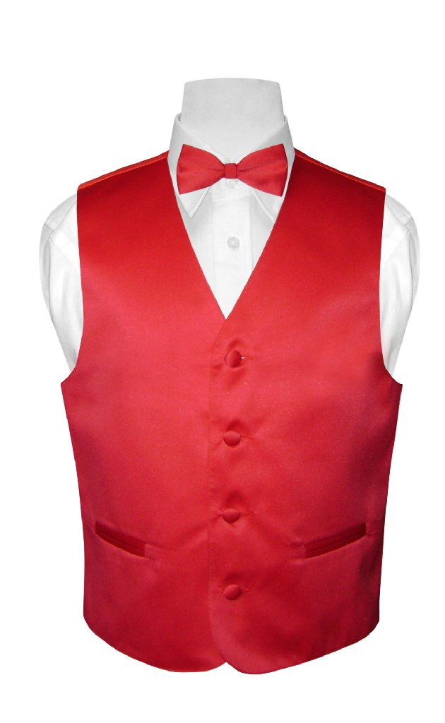 BOY'S Dress Vest & BOW TIE Solid RED Color Bow Tie Set