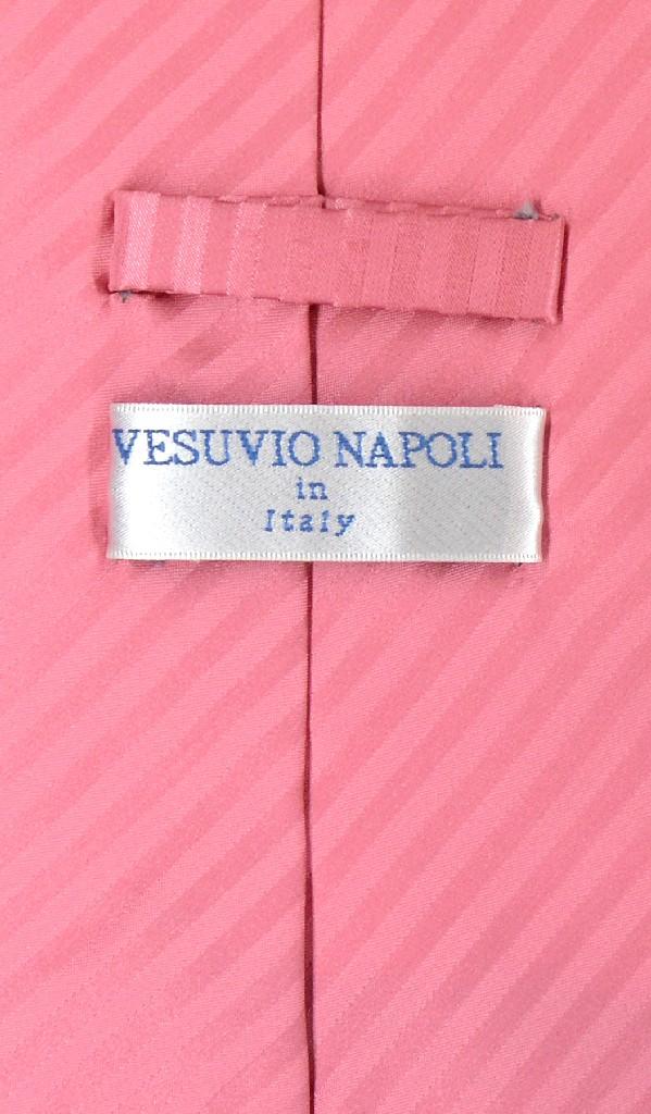 Vesuvio Napoli Solid Coral Pink NeckTie Handkerchief Mens