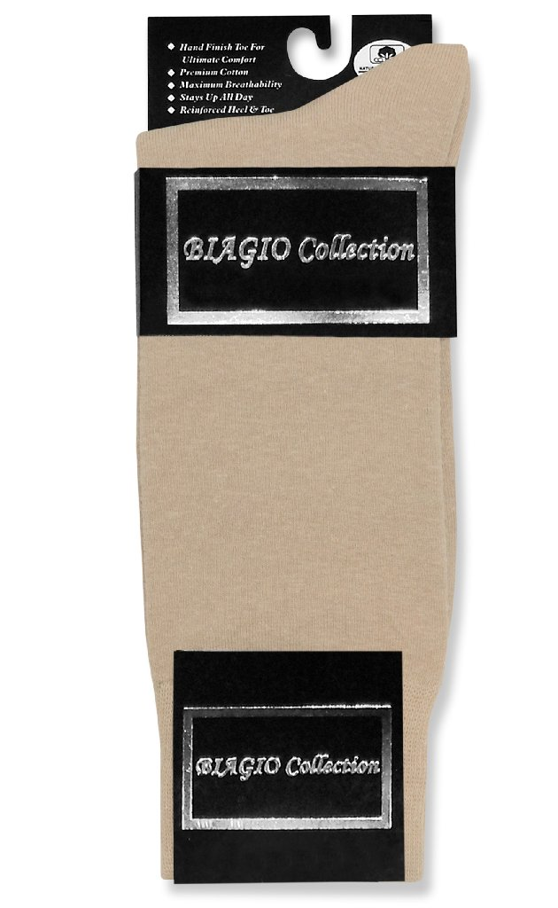 1 Pair of Biagio Solid BEIGE Color Men's COTTON Dress SOCKS