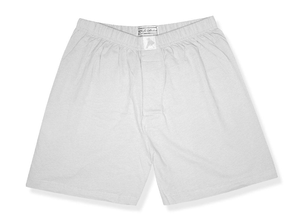 Biagio Men's Solid SILVER GREY Color BOXER 100% Knit Cotton Shorts