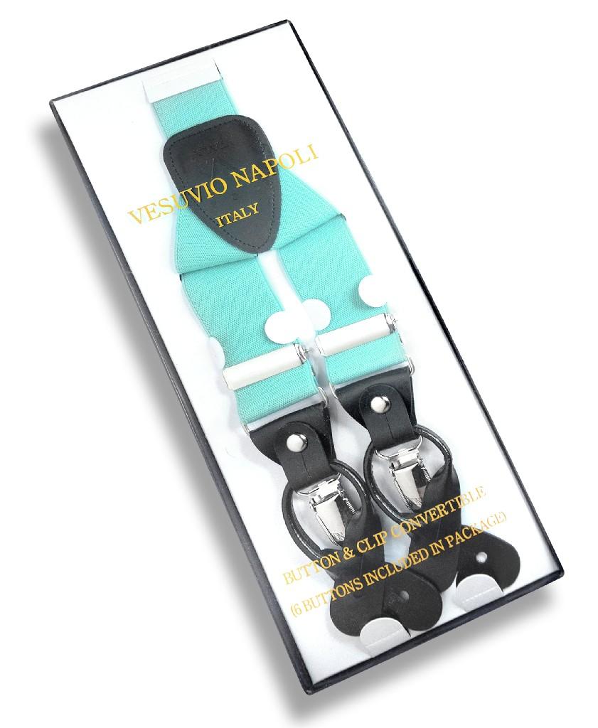 Men's Solid AQUA GREEN SUSPENDERS Y Shape Back Elastic Button & Clip Convertible