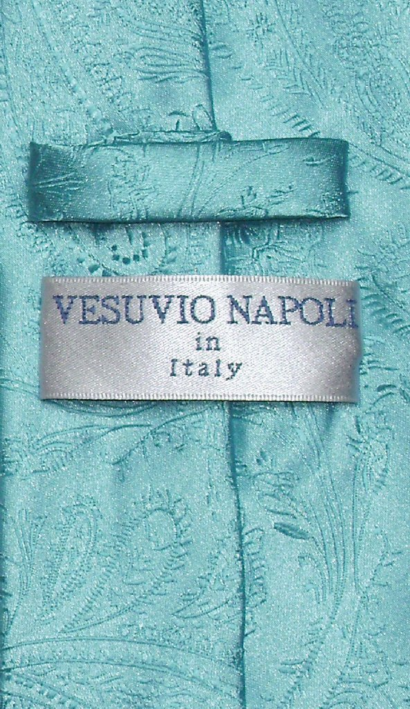 Vesuvio Napoli NeckTie TURQUOISE BLUE Color Paisley Design Men's Neck Tie