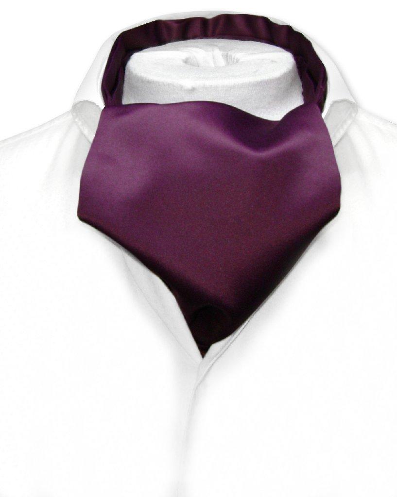Vesuvio Napoli ASCOT Solid EGGPLANT PURPLE Color Cravat Men's Neck Tie