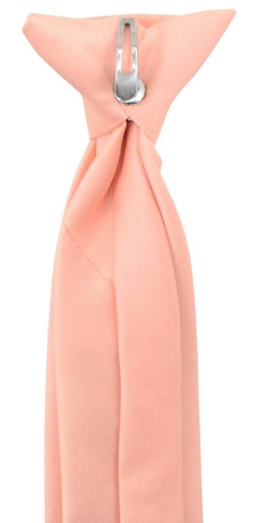 Vesuvio Napoli Boy's CLIP-ON NeckTie Solid PEACH Color Youth Neck Tie