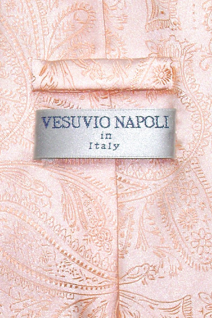 Vesuvio Napoli NeckTie PEACH Color Paisley Design Men's Neck Tie