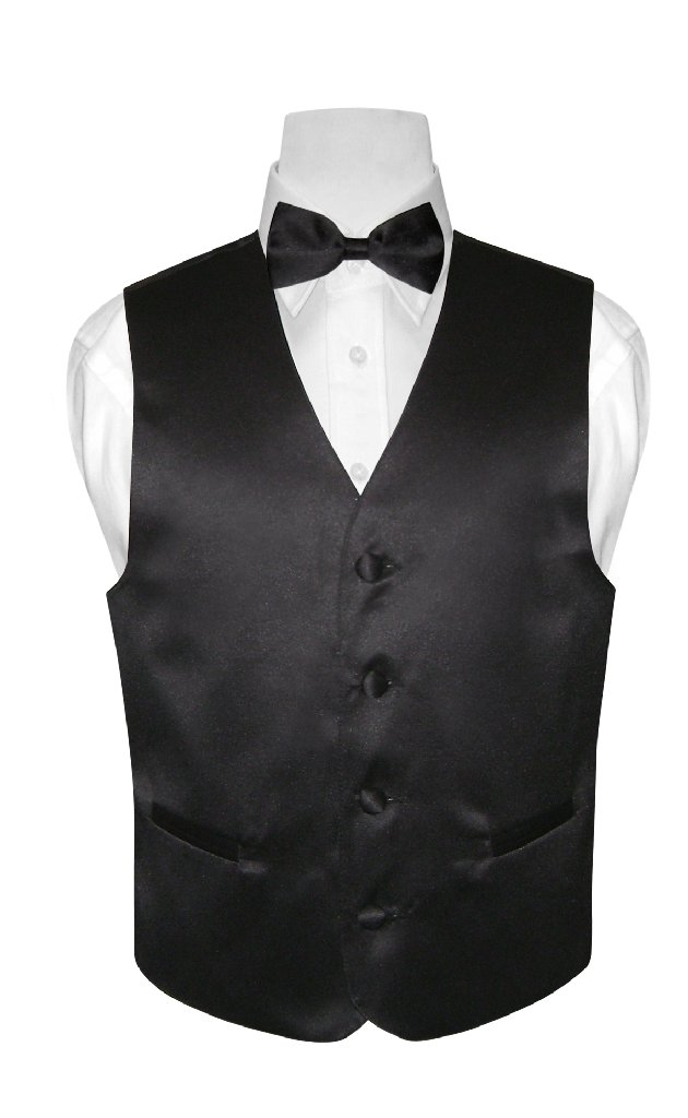 BOY'S Dress Vest & BOW TIE Solid BLACK Color Bow Tie Set