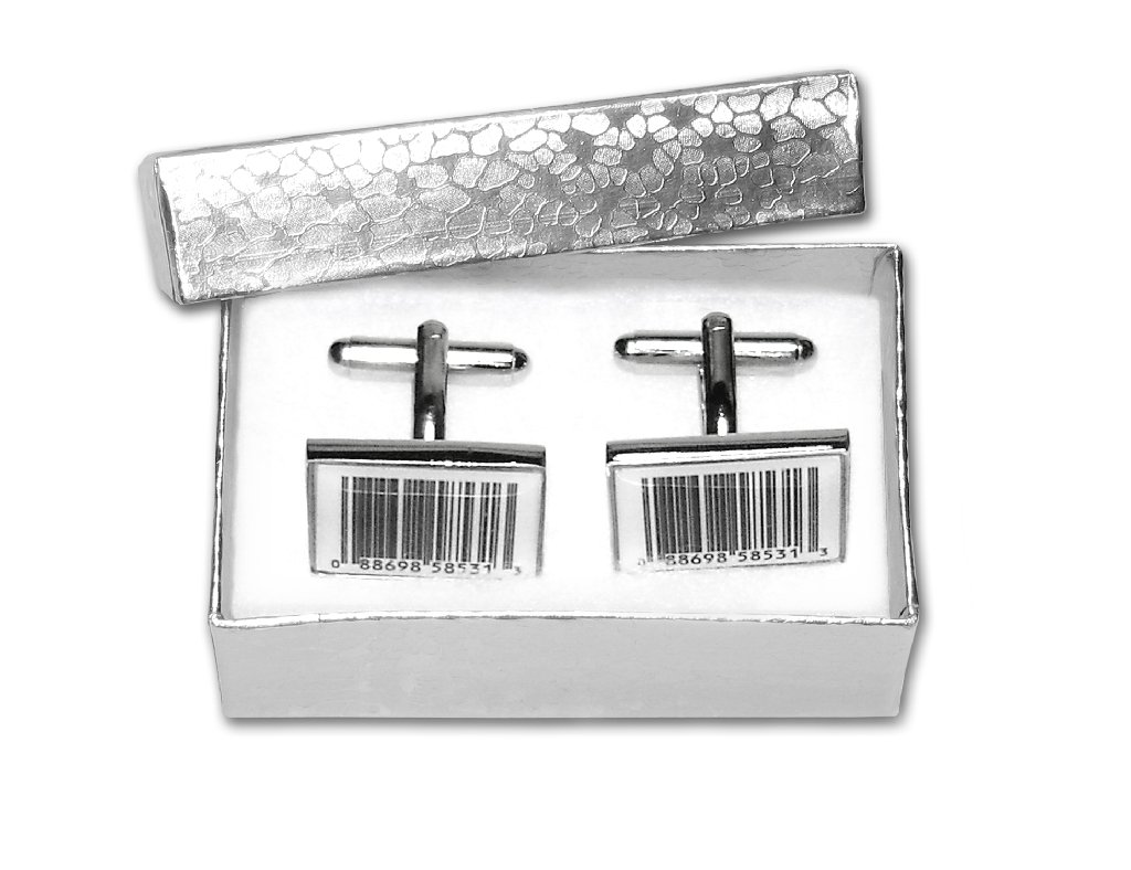 Silver-Tone Men's Cuff Links BARCODE Cufflinks